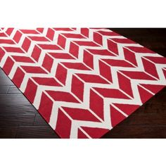 Red and Ivory Chevron Rug