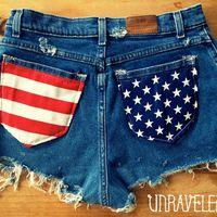 flags, flag short, american flag, shorts, size medium, highwaist short, diy, flag size