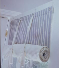 Window treatment for Basement Door. Wonder if my mother-in-law can make these?