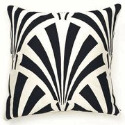 "Limited Production Design: 21"" Deco Arri Black & Ivory Silk Pillow"