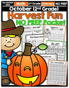 October NO PREP Packet for 2nd Grade! TONS of games and interactive resources that make learning FUN! #TPT