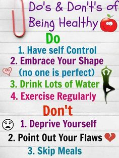 Do's & Dont's of Being Healthy