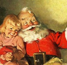Santa and child.  #art  #illustration  #vintage  #coca  #cola  #cocacola  #holiday  #holidays  #christmas  #children  #child  #santa  #claus  #santaclaus
