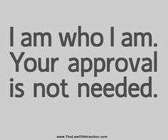 I am who I am. Your approval is not needed. approv, take that, rememb, nanci, quot