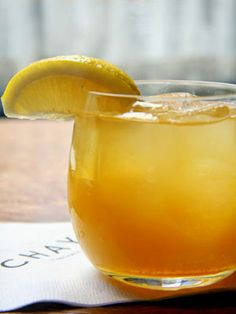 Frisky Whiskey - Maker's Mark, honey liqueur, orange juice, & simple syrup #cocktails