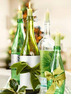 holiday, wine bottle decorations, green christmas, christmas tables, candle holders, christmas decorations, wine bottles, old bottles, christmas table settings