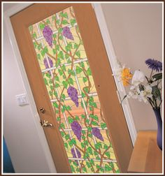 Napa Stained Glass Privacy Window Film. The rich colors and vibrant hues of wine country have been carefully recreated in this beautiful privacy design.  Also available in a see-through version.