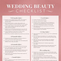 Ultimate Wedding Beauty Planning Checklist!