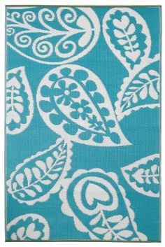 Amazon.com: Fab Habitat 4-Feet by 6-Feet Paisley Indoor/Outdoor Rug, River Blue and White: Patio, Lawn & Garden