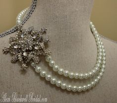 Pearl Wedding Necklace with Rhinestone Focal Embellishment   by AlexiBlackwellBridal, $79.00