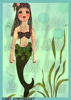 Fashion Mermaid CS87 Quilt Panel Mermaid Arts by fabricblocks, $6.99
