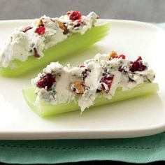 Blue Cheese, Toasted Pecan, Dried Cranberry and Cream Cheese Stuffed Celery    My Mom made this every Thanksgiving and we still have it every year.