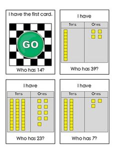 "Sample student cards from ""I Have-Who Has: Place Value-Tens & Ones""  $"