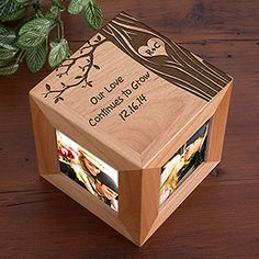 """I LOVE LOVE LOVE this """"Carved In Love"""" Wood Photo Cube! The tree design is so beautiful - this makes a great wedding gift or Valentine's Day gift - great to have for a desk at work! Plus it's a great 5th anniversary gift idea because the traditional gift is """"wood""""!"""