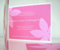 Hot Pink Floral Wedding Invitation