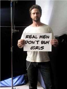 Gerard butler speaks out against human trafficking.