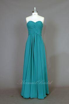 Simple Teal Chiffon Long prom dress evening dress by MermaidBridal