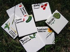Tiles with Porcelaine ceramic markers home made garden markers!