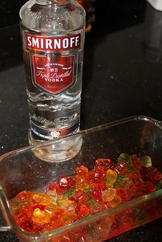 Genius. Vodka spiked gummy bears. The gummy bears act as a sponge. Put the bears in a glass dish and pour in vodka until the bears of submerged. Cover with plastic wrap. Chill in refrigerator for at least 12 hours and up to 4 days. Obviously, the longer they soak the more vodka they absorb! Whipped cream vodka is a nice choice too!!