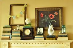 wall colors, wall decor, mantel, empty frames, paint colors, chalkboard, picture frames, mantl, old books