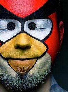 angry bird man // Alexander Khohhlov alexander khokhlov, animals, bodi idea, face paintings, costume makeup, bodi paint, birds, bird man, angri bird