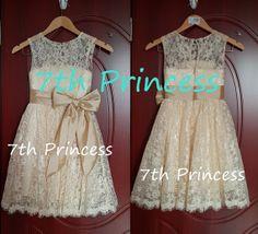 Lace Flower Girl Dress Ivory Flower Girl Dress by 7thprincess, $77.00