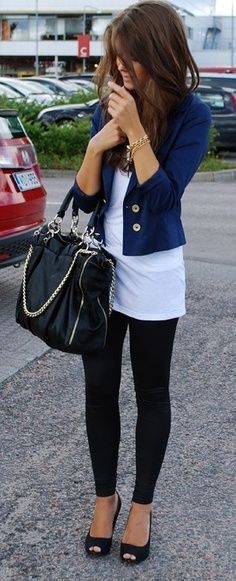 black leggings paired with a white shirt and navy blue blazer along with open-toed shoes for a #casualchic look