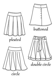 hip skirt patterns - pleated, buttoned, double circle, circle