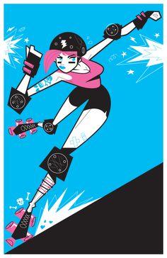 roller derby poster - long island roller rebel's rock-a-betty bruisers - martin gee