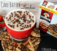 Cake Batter Fondue from ohbiteit.com - the hit of your next party! #desserts #recipes #cakebatter