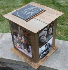 diy engagement pics card box or for a graduation open house