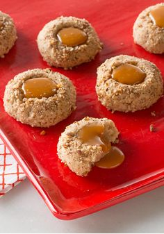 Caramel-Filled Maple-Pecan Cookies — These cream cheese cookies are made with maple extract and filled with yummy caramel sauce. They make great edible gifts for the holiday season!