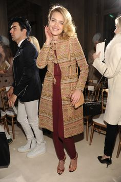 Natalia Vodianova wears a Valentino coat at the Haute Couture show in Paris, January 2013