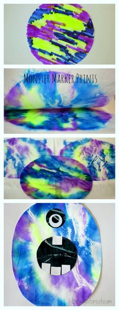 Monster Marker Prints ~ Coffee Filters and marker Art Start with a coffee filter and markers. Color. Spray down with squirter and press between two sheets of white paper. Create monster. :)