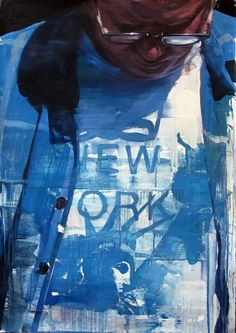 "François Bard, New York, 2014, Oil on Paper, 41¾"" x 29½""  #Art #BDG #BDGNY #Contemporary #Painting #SelfPortrait"