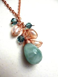 Amazonite Teardrop Pendant Copper Wire Wrapped With Freshwater Pearls Cluster Necklace