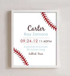 8 x 10  Custom Birth Announcement Print - nursery art. Baseball by polkaprints.  - Would like this on one side with his picture on the other... Him with Pat's baseball glove and a baseball beside him or something.