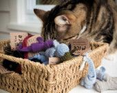 Cat toys made from recycled socks by Melissa!