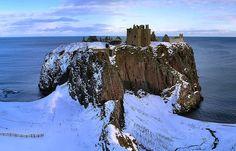 Dunnottar castle, Scotland in the winter