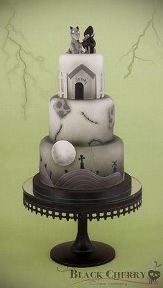 ...by button-moon. Amazing Frankenweenie cake
