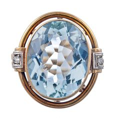 1940s 10ct Oval Aquamarine Ornate Scrolled Mounting Retro Ring