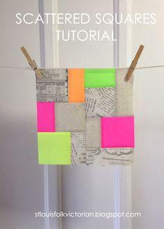 memory quilts, folk victorian, neon block, block tutori, modern quilt blocks, squar block, scatter squar, loui folk, neon quilt