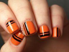 Spiderwebs! Jack-O-Lanterns! 15 Spooky Nail Art Designs orang, polish nails, nail designs, nail art designs, nail arts, stripe, halloween nail art, happy halloween, halloween nails