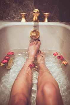 Relaxing in a bath is actually good for your health.....