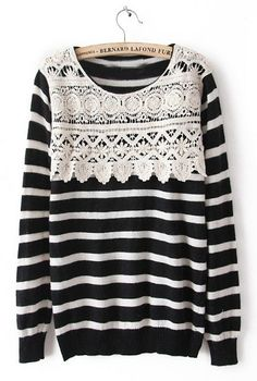 Black White Striped Long Sleeve Lace Sweater