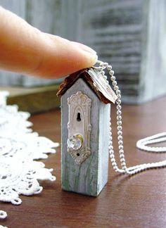 """Tiny Shabby Chic Birdhouse Necklace"""