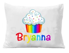 Rainbow Cupcake Personalized Pillow Case by TheTrendyButterfly,