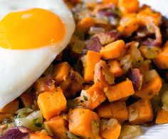 Simple sweet potato hash with bacon. Top it with a fried or poached egg for a delicious (and filling!) meal.  http://stalkerville.net/ #paleo