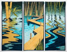 """Bamboo Marsh, 15 x 45"""" (each panel) by Linda Anderson 