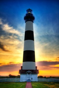 Sunset at Bodie Island Lighthouse in Outer Banks, North Carolina, USA